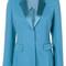 Versace - satin lapel blazer - women - silk/spandex/elastane/viscose - 44, blue, silk/spandex/elastane/viscose