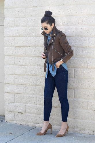 cost with me blogger jacket shirt jeans shoes pumps fall outfits high heel pumps skinny jeans