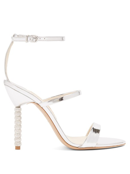 Sophia Webster heel embellished sandals leather sandals leather silver shoes