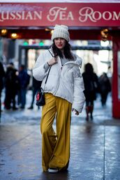 pants,tumblr,yellow,mustard,wide-leg pants,puffer jacket,jacket,white jacket,beanie,bag,black bag,top,stripes,striped turtleneck,turtleneck,striped top