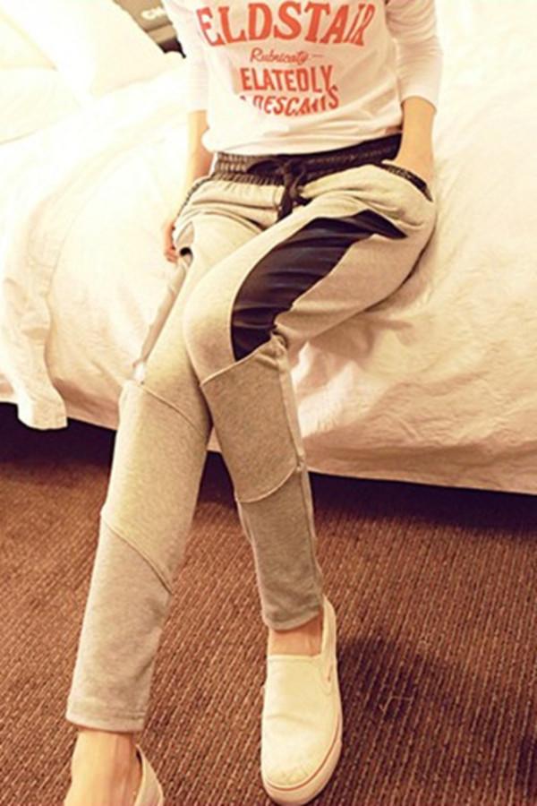 pants baggy pants grey black grey pants loose pants