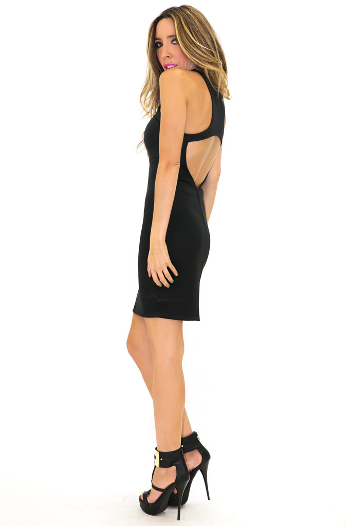 SCUBA SLEEVELESS BODYCON DRESS - Black | Haute & Rebellious