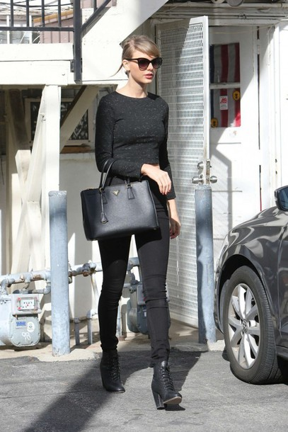 top crop tops taylor swift shoes purse sunglasses fall outfits all black everything celebrity style