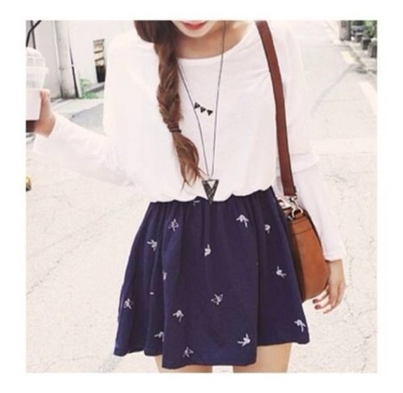 skirt birds navy blue blue skirt blue white skater skirt bleu shirt
