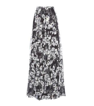 skirt floral silk black