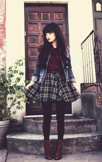 tartan grunge check indie alternative hipster circle skirt skater skirt monochrome shoes
