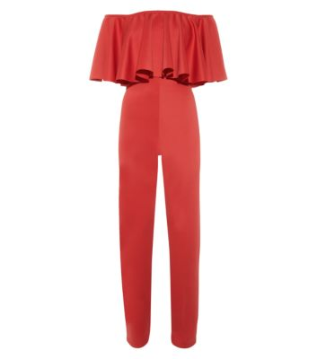 Cameo Rose Red Bardot Neck Frill Trim Jumpsuit
