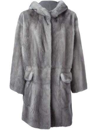 coat fur coat fur women grey