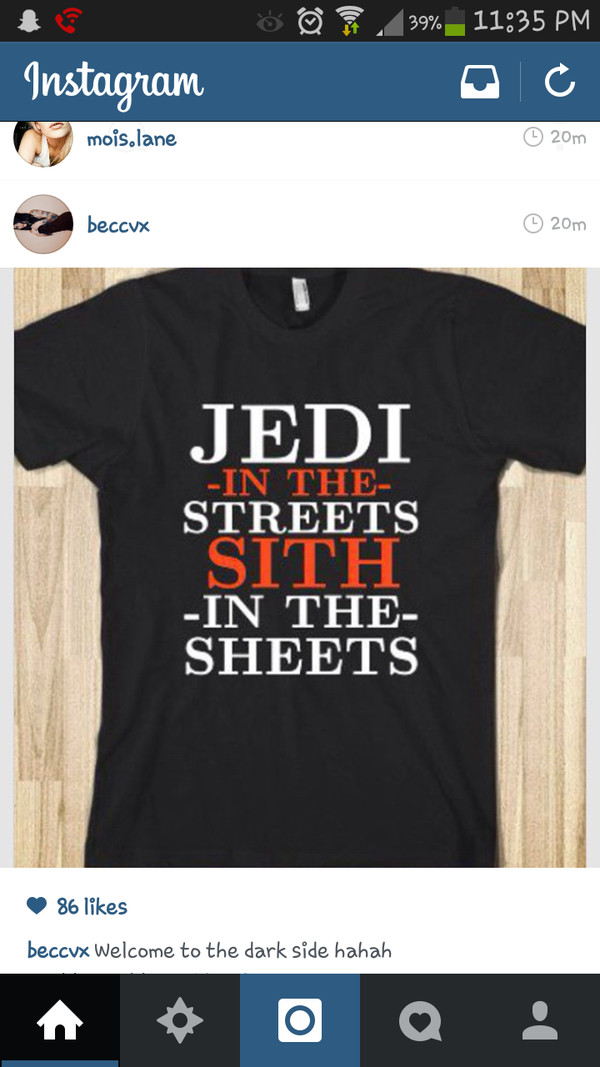 t-shirt star wars jedi sith instagram nerd geek