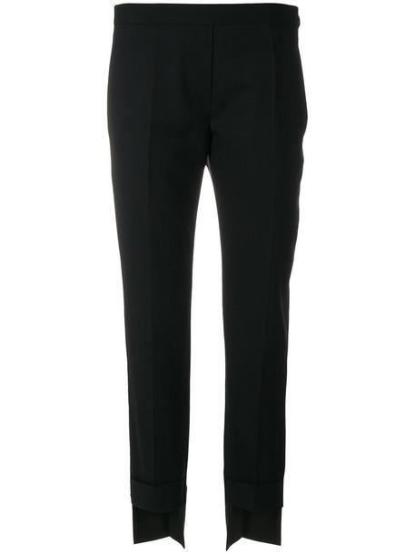 neil barrett high women spandex high low black wool pants