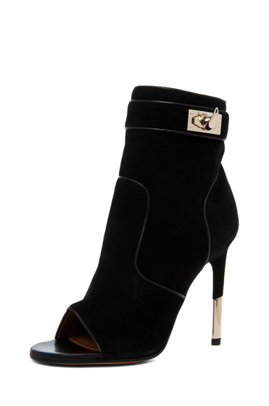 GIVENCHY|Dunke Suede Nappa Shark Lock Bootie in Black