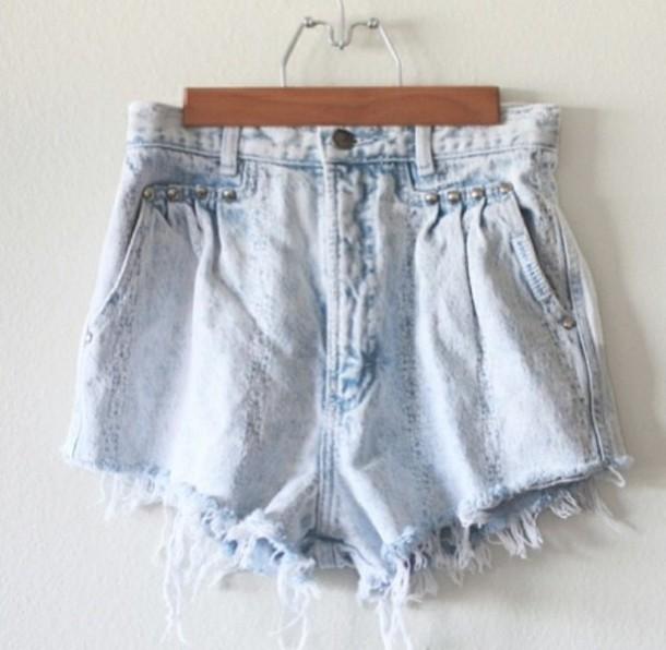 shorts light blue acid wash high waisted