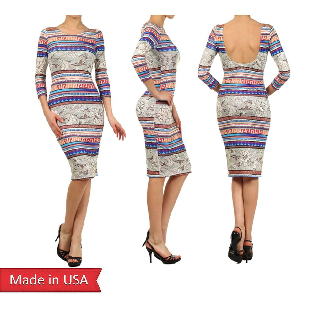 Women floral aztec stripe print sexy fitted 3/4 sleeves bodycon midi dress usa