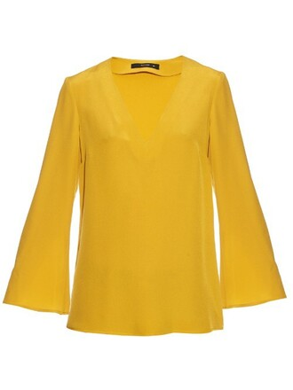 blouse silk yellow top