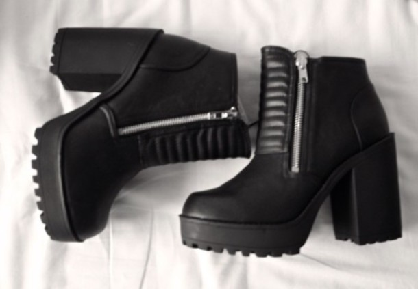 Shoes: boots, black boots, chunky boots, leather boots, platform ...
