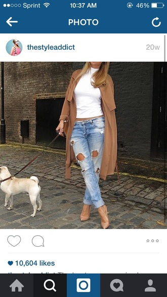 coat cream coat cream heels white shirt ripped jeans