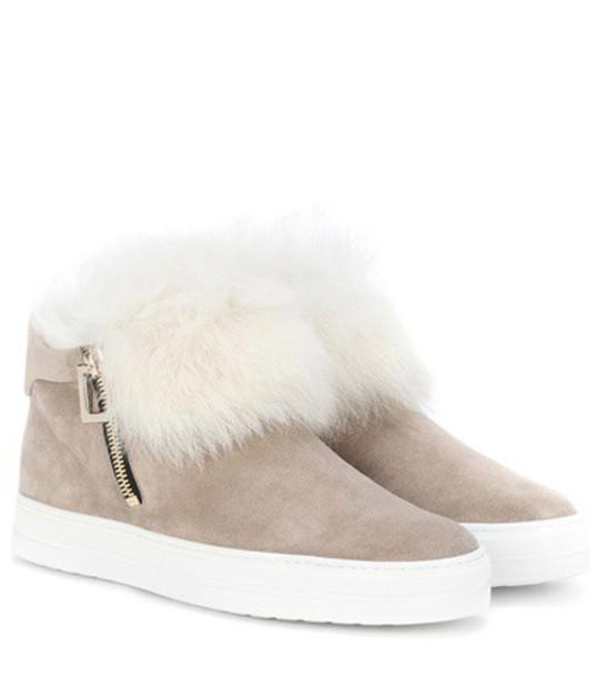 fur sneakers beige shoes