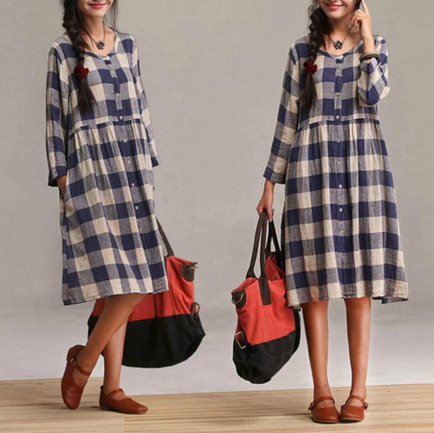 dress blue plaid shirt plaid patterned dress midi dress hipster