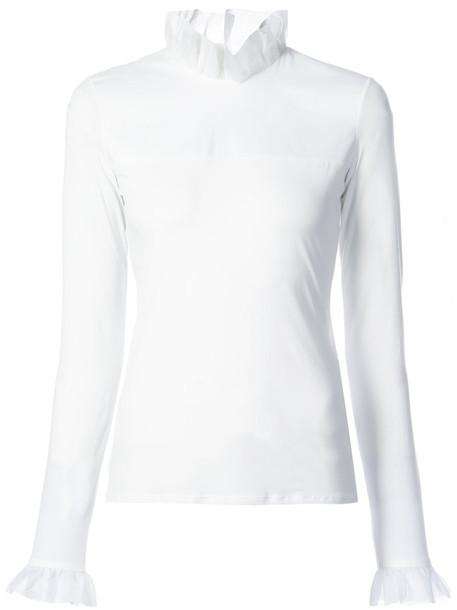 Marc Cain blouse women white cotton silk top