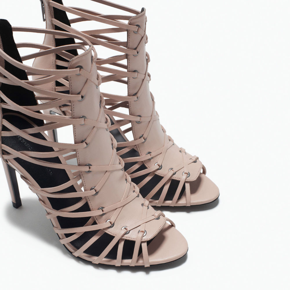 Zara Nude Beige Leather High Heel Sandal With Fine Straps