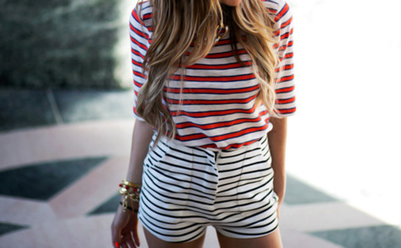 shirt white striped shirt stiped high waisted short striped short red