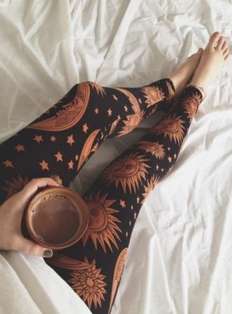 leggings sun moon and stars boho hippie celestial tumblr outfit