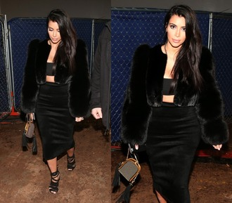 jacket fur fur coat kim kardashian pencil skirt crop tops skirt top