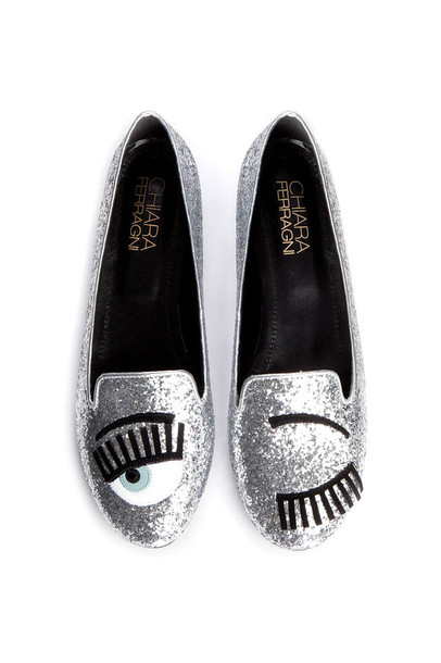 shoes designer:  chiara ferragni flirting flats in glitter