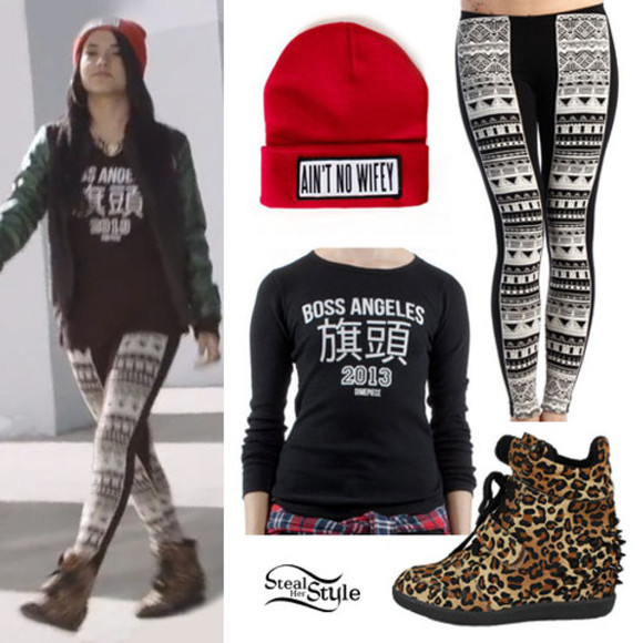 cheetah print red pants aint no wifey beanie like a boss los angles black, crewneck aztec leggings leggings aztec high wedged sneakers high top sneaker sneakers wedged becky g swag