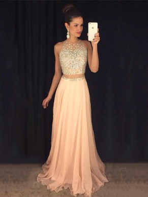 A-line Scoop Neck Chiffon Tulle with Beading Sweep Train Different Prom Dresses - dressesofgirl.com