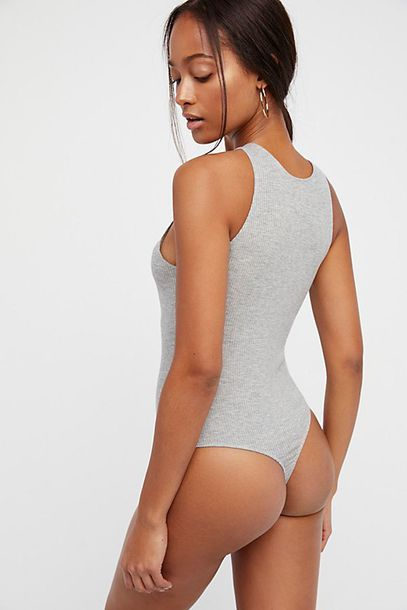 top free people bodysuit grey clothes hot backless backless top knit