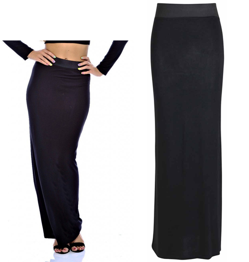 Elizabeth | Black Plain Maxi Skirts