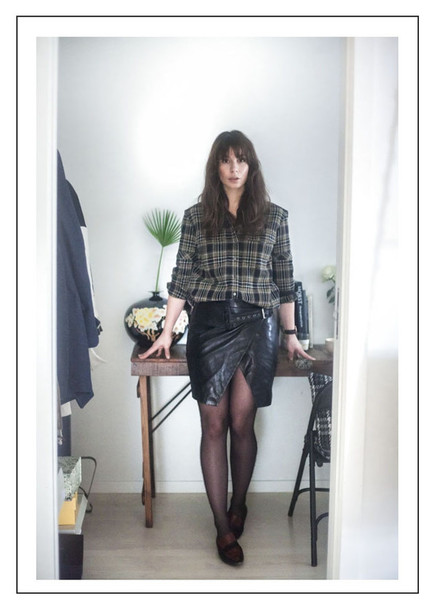 a portable package blogger shirt leather skirt