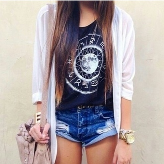 shirt shorts cardigan boho dress astrology t-shirt black moon