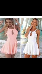 dress,jumpsuit,white dress,pink dress,cute dress,romper,girly,girl,girly wishlist,pink,summer,beach,beautiful halo,pastel,cute,fashion,style,boho,lace,summer outfits