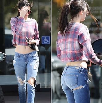 jeans kendall jenner ripped jeans denim ripped denim high waisted jeans top
