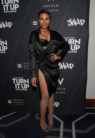 dress silk shirt dress jennifer hudson black