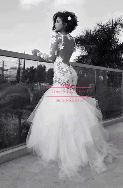Modern Vestidos De Novias Tulle Open Back Lace Mermaid Fishtail Lace ...