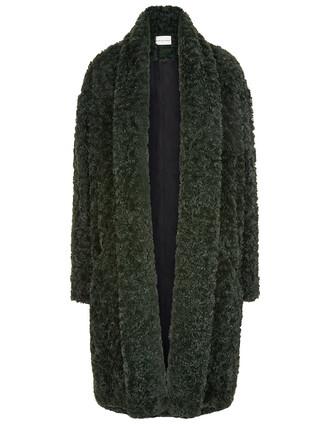 coat oversized dark green