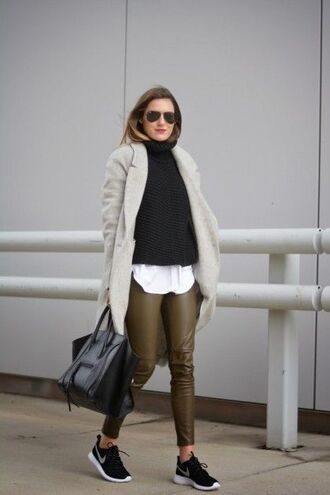 shoes grey blazer navy blue sweater white shirt olive green pants black bag black sneakers blogger sunglasses