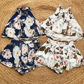 top,set,two piece 2 piece set,spring,summer,floral,flowers,trendy,inexpensive,sale,bellexo
