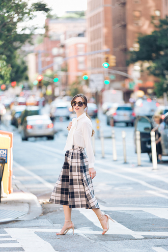 m loves m blogger top skirt shoes bag sunglasses classy midi skirt plaid plaid skirt