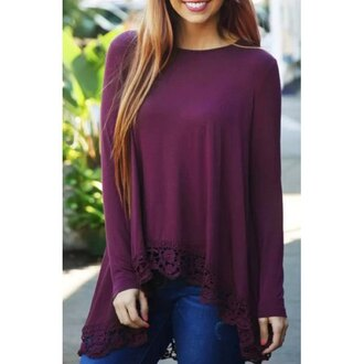 top fashion trendy purple long sleeves stylish round neck long sleeve purple lace spliced irregular t-shirt for women style warm rose wholesale-dec