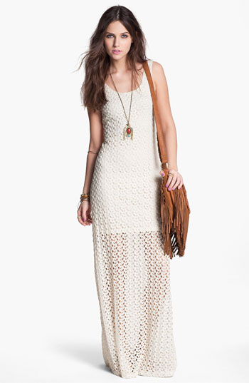 Chica Half Sheer Crochet Maxi Dress (Juniors)  Nordstrom
