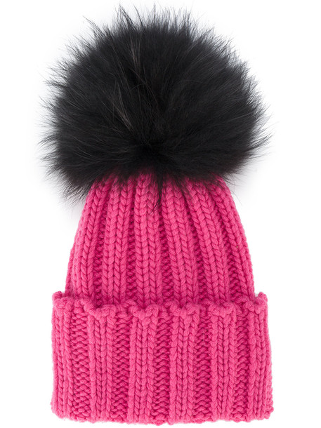 fur hat purple pink