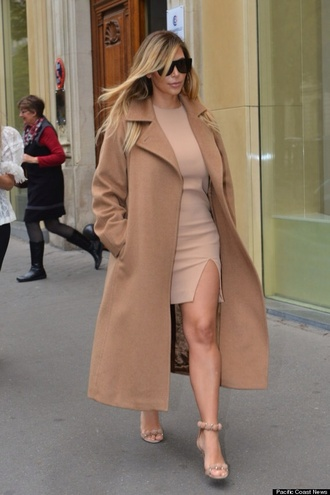 coat kim kardashian camel dress all nude everything sunglasses monochrome outfit misspap coat.