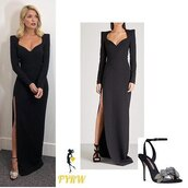 dress,mugler,black gown,holly willoughby