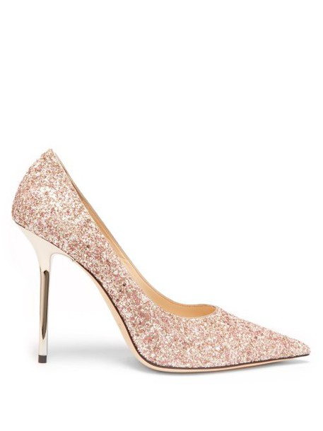 Jimmy Choo - Love 100 Glitter Pumps - Womens - Light Pink