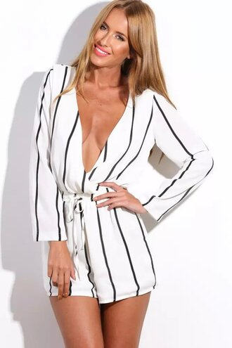 jumpsuit romper stripes striped jumpsuit plunge v neck sexy jumpsuit sexy romper summer outfits striped top beach dress long sleeves shorts white dress