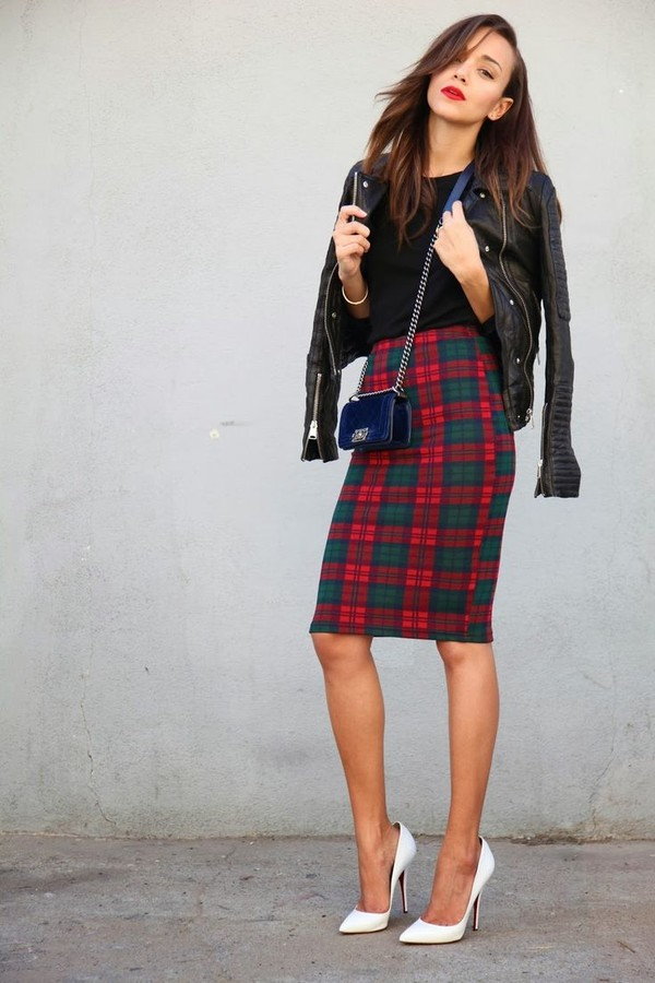 jacket leather jacket bag chanel skirt shoes heels ashley madekwe burberry plaid black t-shirt pumps white pumps ring my bell blogger red green check skirt tartan skirt midi skirt bodycon